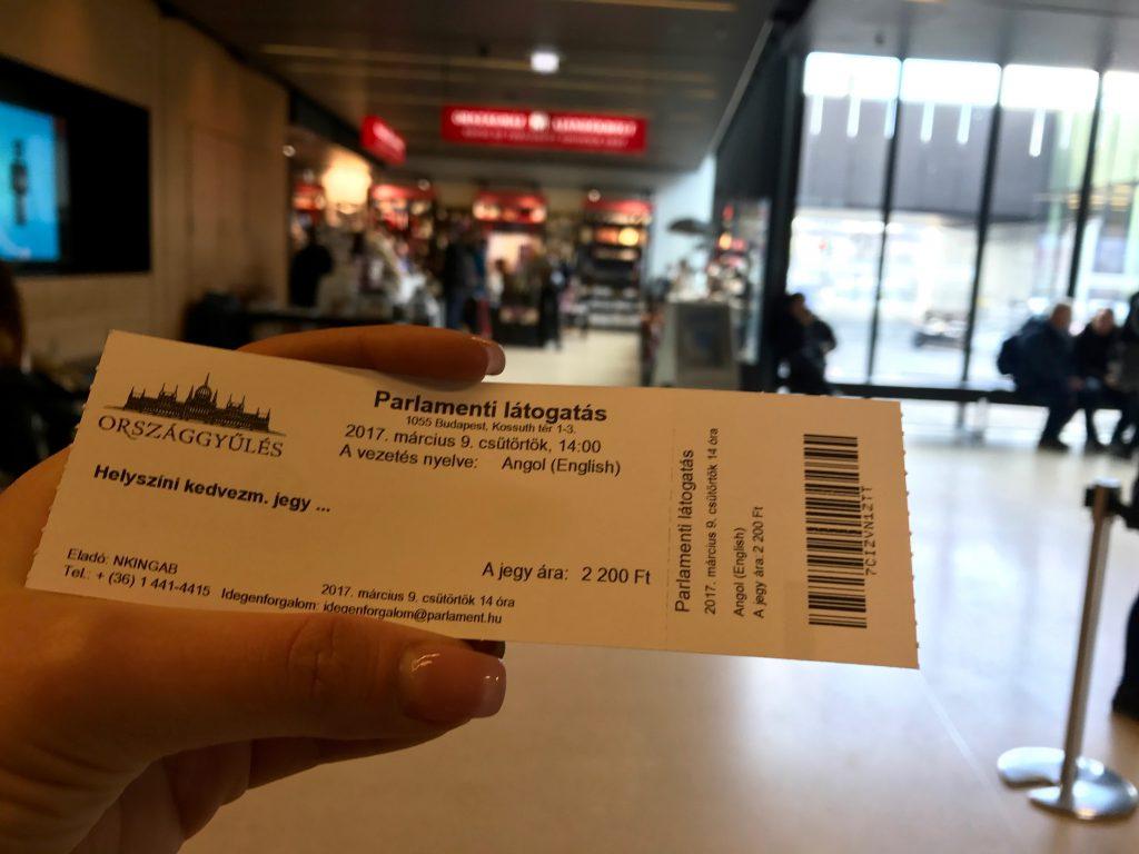 Bilet de intrare în Palatul Parlamentului din Budapesta